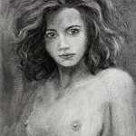 """Nude Female Charcoal Drawing """"A dare from the shadows of unknown"""""""