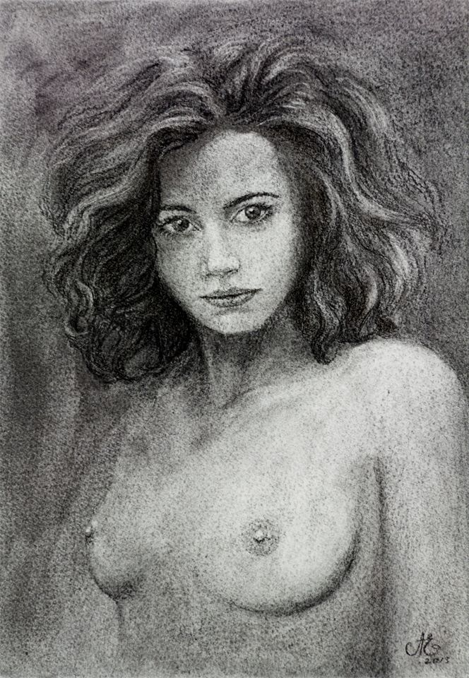 "Nude Female Charcoal Drawing ""A dare from the shadows of unknown"""