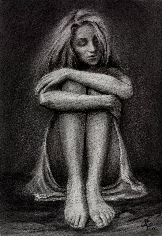 """""""Lost in the Caves of Solitude"""" Nude Drawing"""
