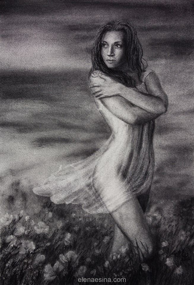Dissipating Patience Charcoal Drawing