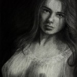 Forbidden Kisses of Nostalgia Charcoal Drawing