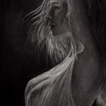 Charcoal Drawing. Blinding Rays of Passion. Artist Elena Esina