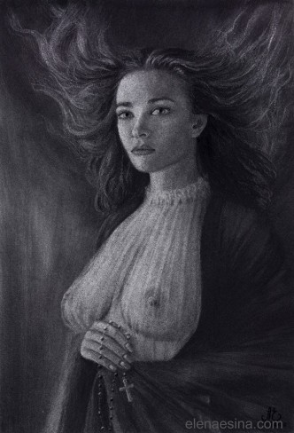 Nude Charcoal Drawing by artist Elena Esina