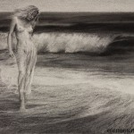 """Charcoal Drawing """"Soothing Waves of Reason"""""""