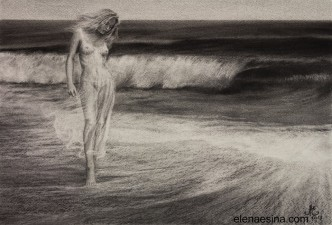 "Charcoal Drawing ""Soothing Waves of Reason"""