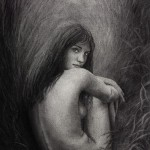 """""""Morning Whispers of the Meadow"""" Charcoal Drawing by Elena Esina"""