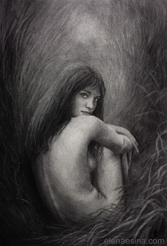 """Morning Whispers of the Meadow"" Charcoal Drawing by Elena Esina"