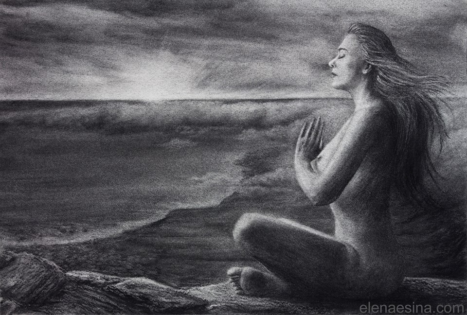 """""""Oneness"""" Charcoal Drawing (2013)"""