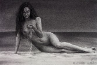 Charcoal drawing. Nude female. Dispersing moments.