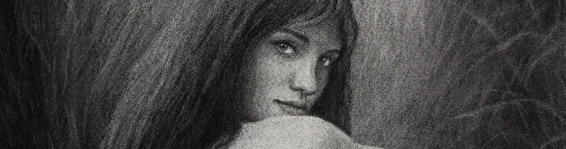 Charcoal drawing nude female meadow