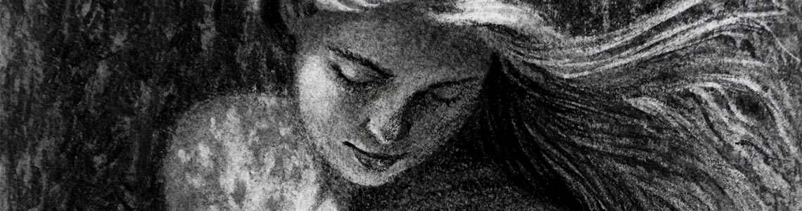 Charcoal drawing nude female summer