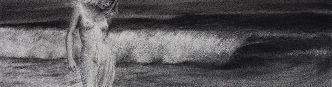 Charcoal drawing nude female waves