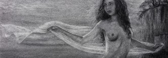 Charcoal drawing nude female youth