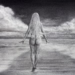 Elena Esina Charcoal Drawing. A Walk in The Clouds