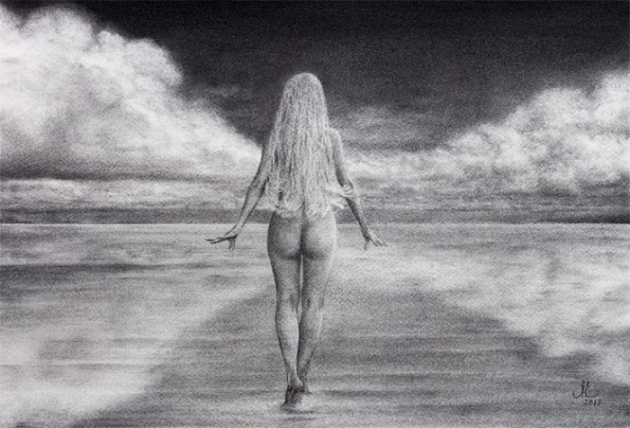 Charcoal Drawing. A Walk in The Clouds, Elena Esina