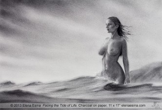 "Charcoal Drawing ""Facing the Tide of Life"""