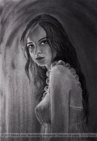 Charcoal Drawing. Illuminating Innocence. Artist Elena Esina