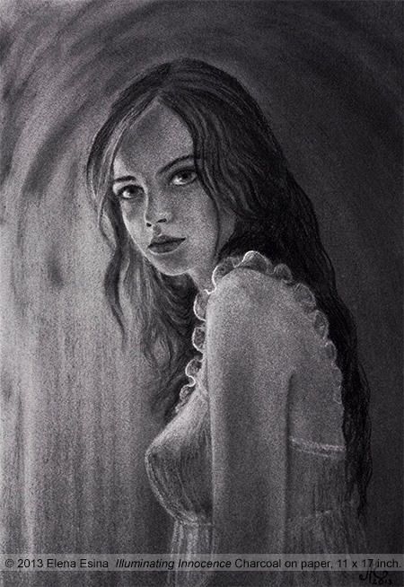 Charcoal Drawing. Illuminating Innocence. Artist Elena Esina