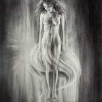 """Levitating Heart"" Charcoal Drawing. Artist: Elena Esina"