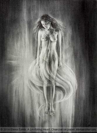 """Levitating Heart"" Charcoal Drawing. Artist: Elena Esina"