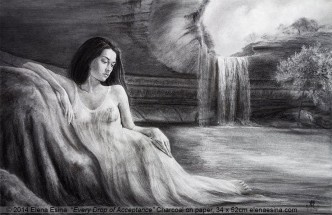 Charcoal drawing by artist Elena Esina. Beautiful nude girl in nature