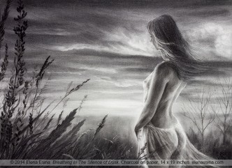 Charcoal drawing. Breathing In The Silence of Dusk