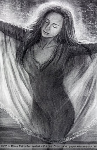 Permeated with Love. Charcoal Drawing Artist Elena Esina