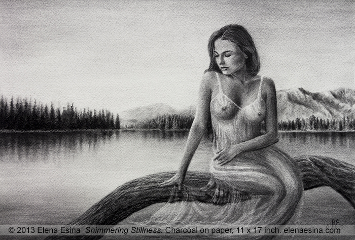 Romantic Nude Drawing Shimmering Stillness
