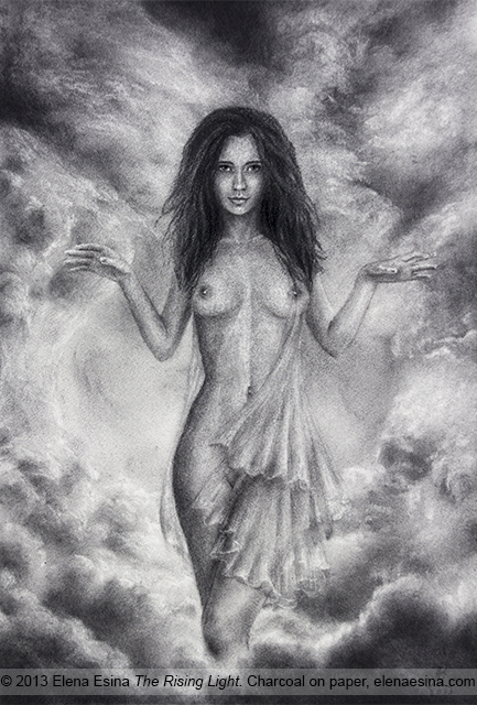 Female Nude.The Rising Light . Charcoal Drawing