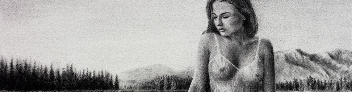 Charcoal Drawing Nude Girl Nature
